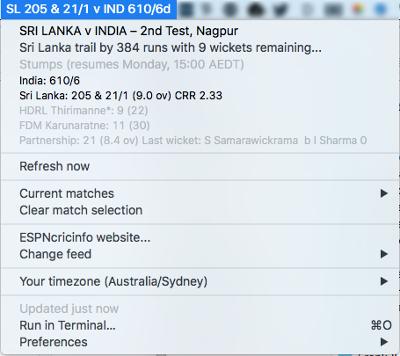 Cricket Bar plugin screenshot